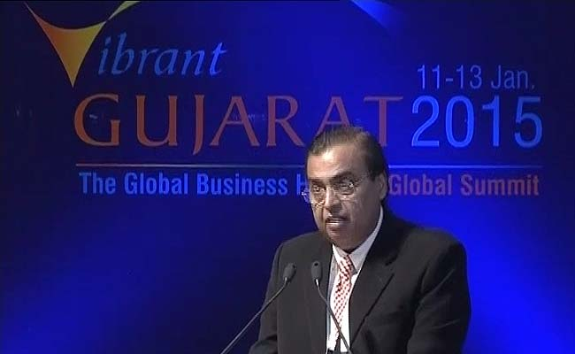 Reliance Industries chairman Mukesh Ambani at the Vibrant India Summit in Gandhinagar