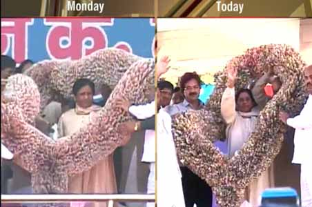 Another 18-lakh garland given to Mayawati