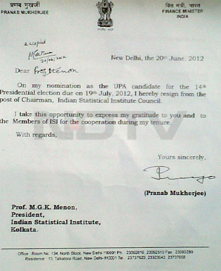 See Pranab Mukherjee's letter of resignation as head of Indian Statistical Institute